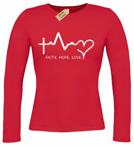 Womens Faith Hope Love T-Shirt gift religious top Ladies long sleeve tee