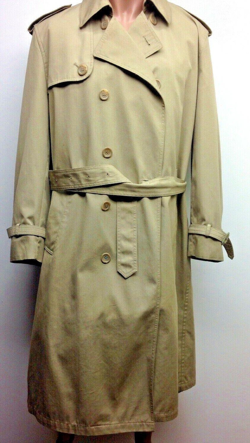 OLEG OLEG CASSINI Mens Tan belted trench coat removable faux fur liner 42 R