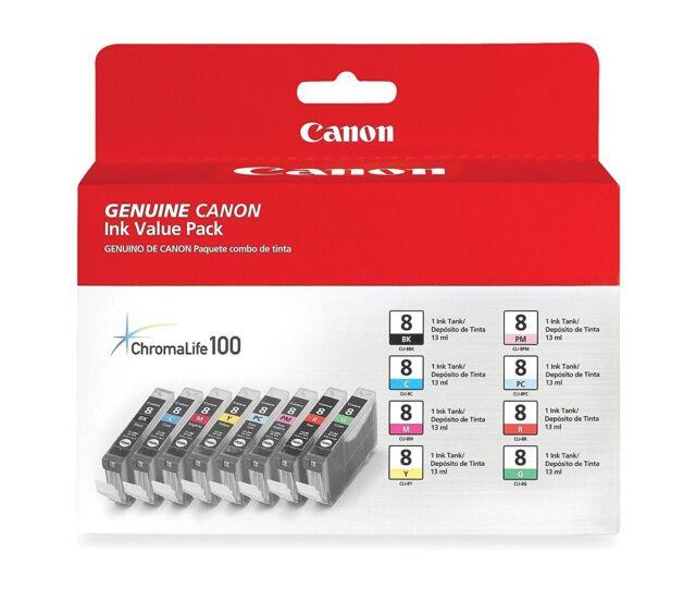 New Genuine Canon CLI-8 8PK Ink Cartridges PIXMA Pro 6000 6500 Pro9000