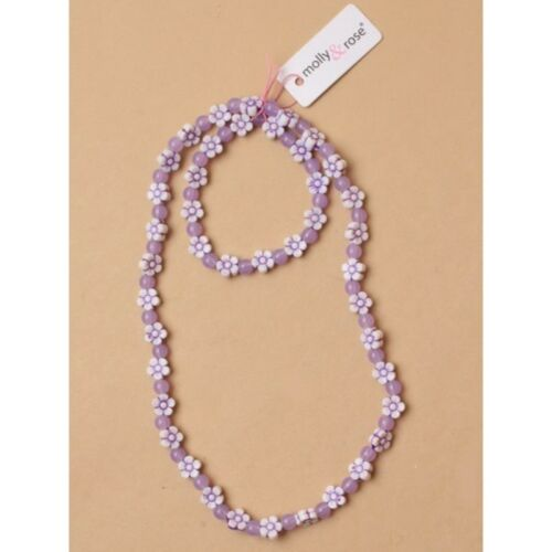 ,Beaded flower stretch necklace and matching bracelet set In pink and lilac.