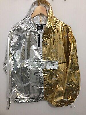 Nike women/'s metallic jacket AJ0104-751 windrunner gold silver size S
