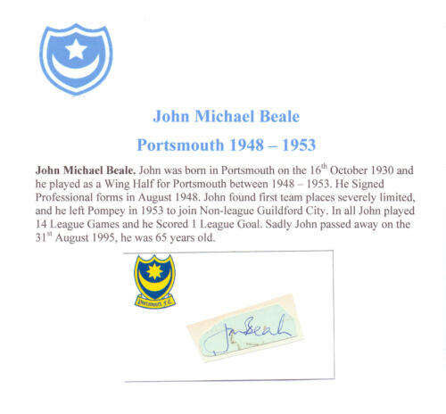 JOHN BEALE PORTSMOUTH 19481953 VERY RARE ORIGINAL HAND SIGNED CUTTINGCARD