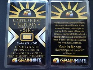 1-x-GRAINMINT-5GRAIN-GOLD-BAR-99-99-LIMITED-EDITION-IN-COA-ONLY-500-MADE