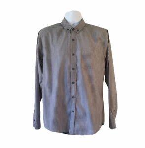KR3W Mens LS Striped Button Up Shirt - Gray with Black Stripes - SZ M