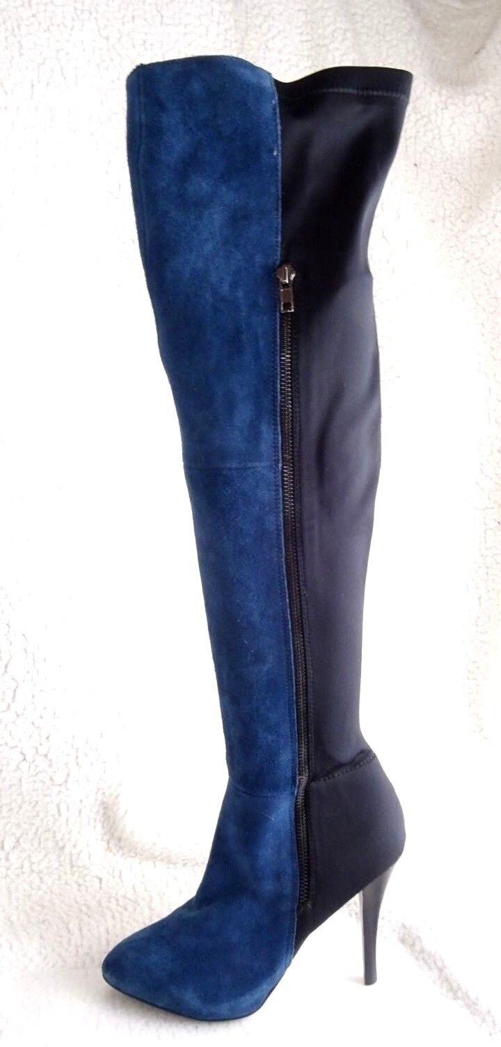 Carlos Santana Prime bluee Suede Tall Stretch Suede Women 6 Over Knee Boots