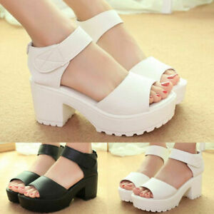 Fashion-Women-Ankle-Strap-Peep-Toe-Sandals-Mid-Heel-Chunky-Platform-Casual-Shoes