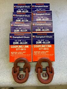 Lot-of-10-Campbell-chain-3-8-quik-alloy-hammerlock-coupling-link-NOS-USA-10-pcs