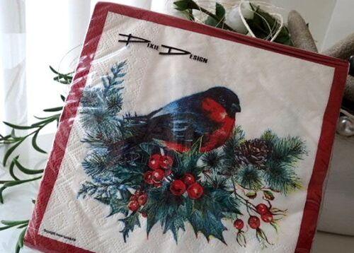 Servietten DOMPFAFF Vogel Weihnachten Winter Serviettentechnik Schweden 20 Stück
