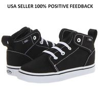 8.5 Vans Toddler Boys Black White High Top 106 V Mid Sneakers Shoes