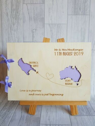 alternative guest book map wedding book Wooden guest book Abroad guest book