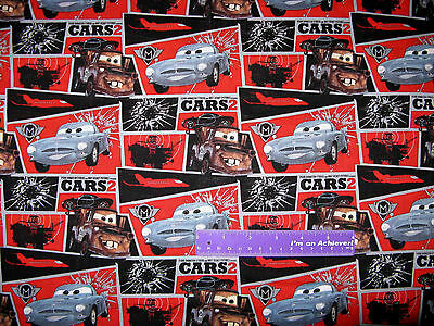 Disney Cars Movie Lightning McQueen Mission Block Cotton Fabric BY THE HALF YARD