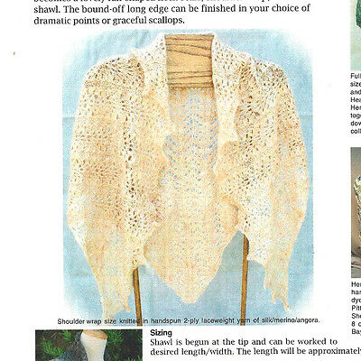LOVELY LACE TRIANGLE SHAWL in 2 SIZES to KNIT in FINGERING WT YARN  HEARTSTRINGS