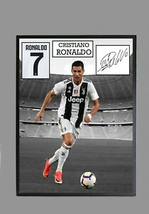 new style 3d734 d741f Details about CRISTIANO RONALDO JUVENTUS Framed A4 Canvas Tribute Print  Signed