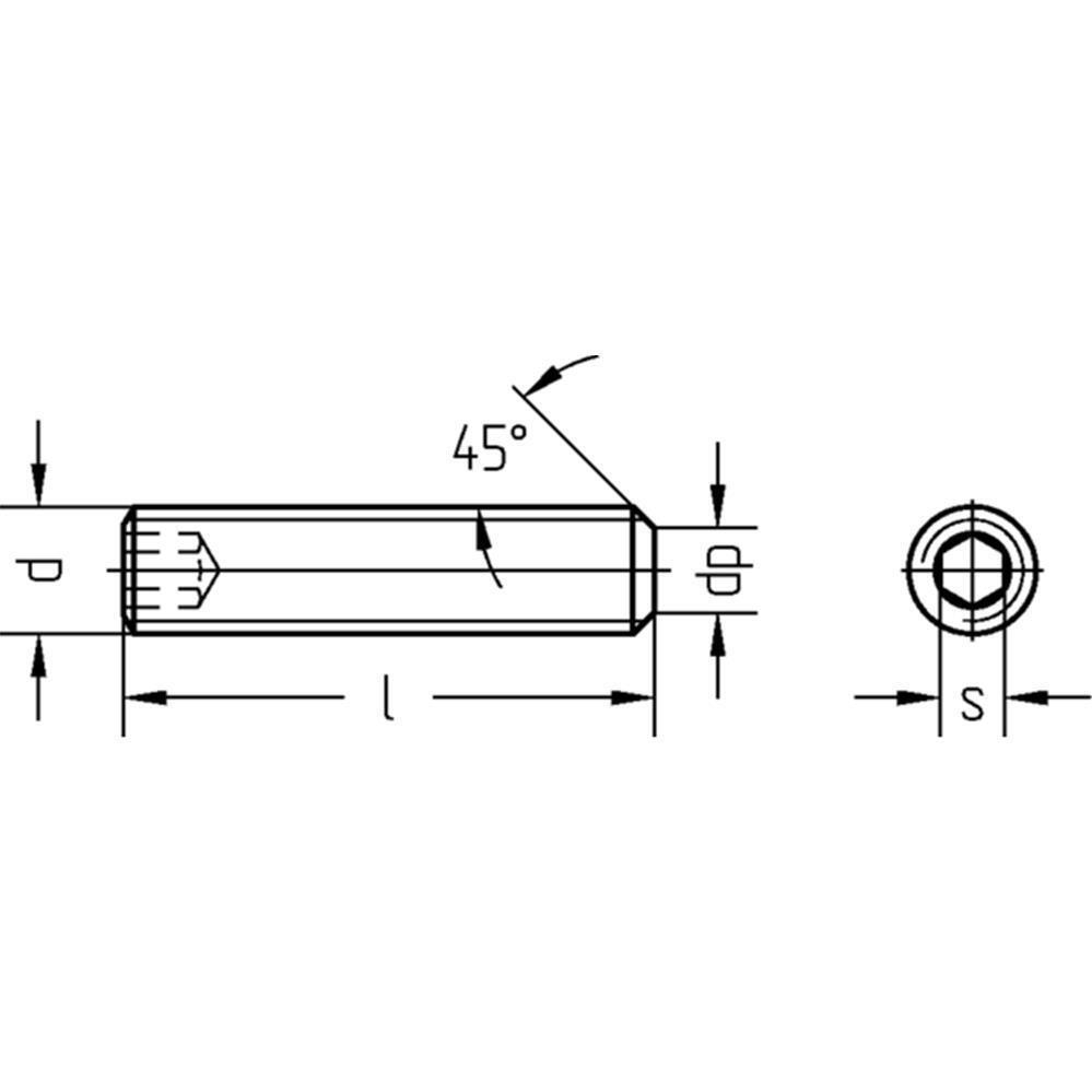Gewindestifte Innen-6-kant Kegelstumpf 45H DIN EN ISO 4026 Stahl blank M8 - M20