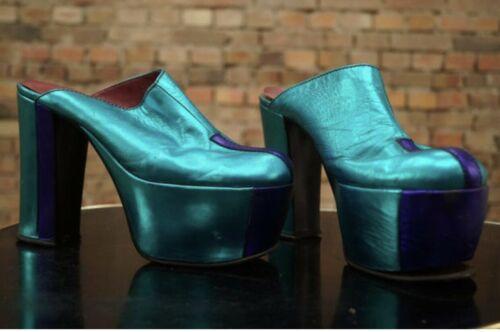 Vintage 70s Platforms Shoes Sandals Blue Metallic