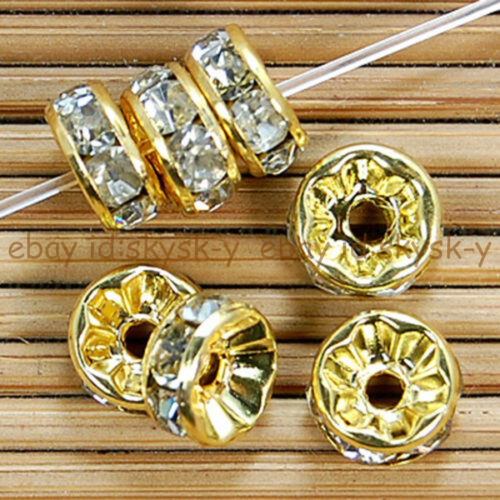 100pcs Crystal Rhinestone Gold Silver Plated Rondelle Spacer Beads 4 Sizes