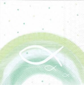 Servietten-33x33-20St-001-Kommunion-Konfirmation-Taufe-Regenbogen-Fisch-gruen
