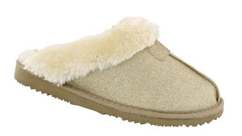 Donna ELLA Sparkle Glitter Caldo Foderato in Pelliccia Sintetica Memory Foam Pantofole