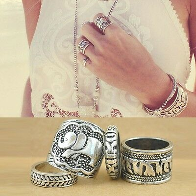 New Women Fashionable Vintage Retro Elephant Joint Knuckle Nail Rings Set 4pcs