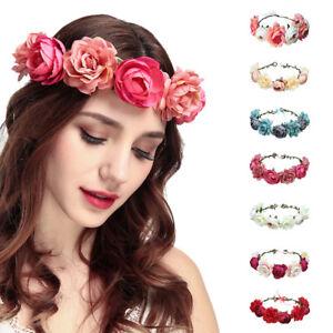 3316bf5b0a9e02 Das Bild wird geladen Boho-Haarband-Blumen-Kranz-Blueten-geflochten- Stirnband-Party-