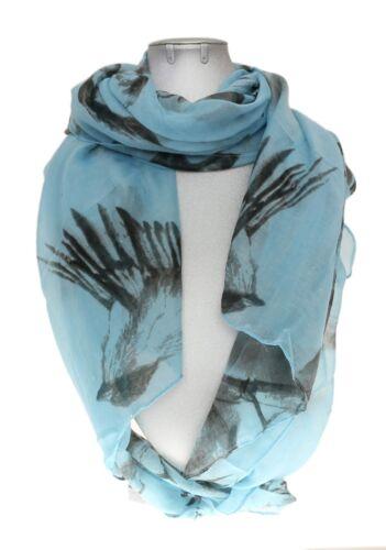 Womens Sketched Birds Print Large Soft Scarf Neck Vintage Shawl Wrap Retro Stole