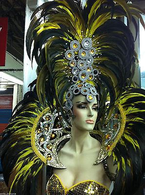 Da NeeNa H044 Showgirl Drag Carnival Feather Backpiece Headdress