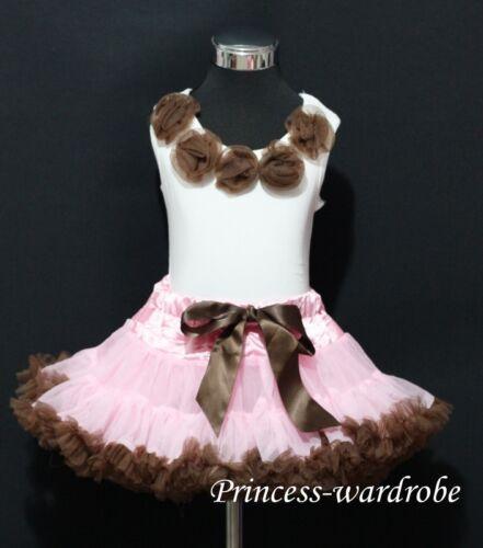 Pink Brown Pettiskirt Brown Pettitop Skirt Tutu 1-8Year