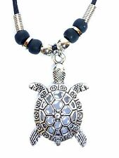 New Silver metal Sea Turtle PEWTER  Pendant Cord Necklace