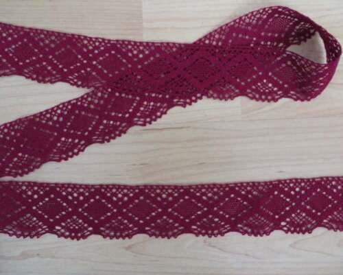 wine Cotton crochet scallop lace edge trim 3mts Vintage style 5cm burgundy