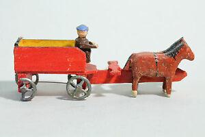Erzgebirge Spielzeug / Modell Kastenwagen Mit Kutscher & 2 Pferden CoûT ModéRé
