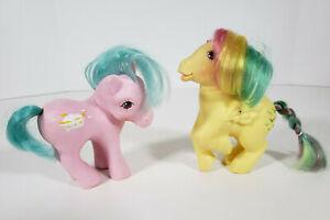 Vintage My Little Pony G1 1983 Yellow Rainbow Pegasus & 1987 Pink Banana Split