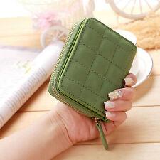 Women Leather Bifold Wallet Zipper Clutch Card Holder Purse Lady Handbag Green