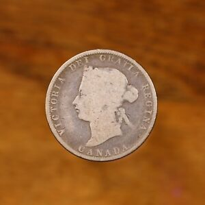 Raw-1872-H-Canada-25C-Circulated-Canadian-Silver-Quarter-Coin