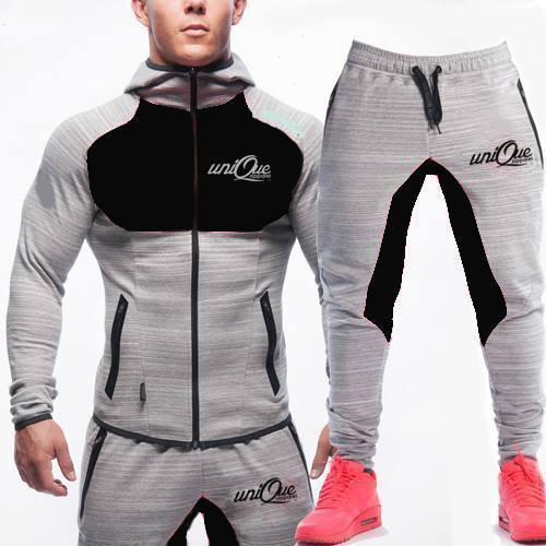 +++ Nouveau Homme Survêtement Ensemble Polaire à Capuche Top Pantalon De Jogging Survêtement Gym Contraste