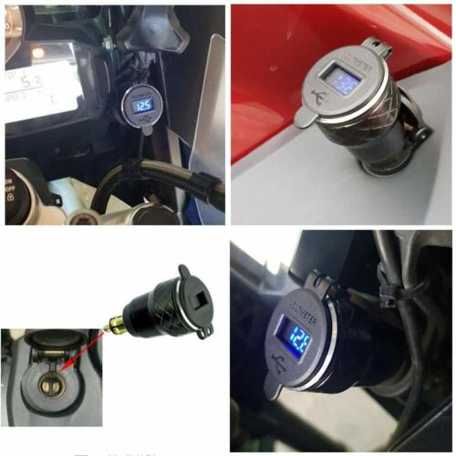 CNC Motorcycle DIN Socket QC3.0 Dual USB Charger with Digital Voltmeter for BMW