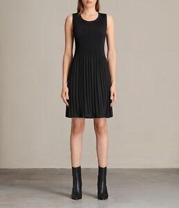 Etta Black Dress £ Fit Flare Allsaints 8 Rrp 10 Pleated tag S Nuovi Sz 128 qfpESZS