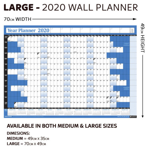 2020 Yearly Wall Planner Calendar Annual Chart Year PEN STICKERS LAMINATED BLUE