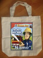 """Fireman Sam Hero Next Door"" Custom Personalized Birthday Tote Bag Party Favor"