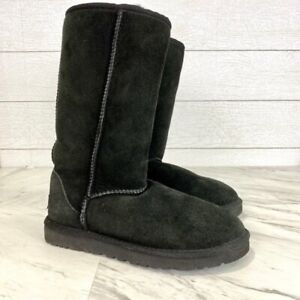 Ugg Womens Size 7 Black Mid Calf Classic Tall Boots Winter Warm Shearling Suede