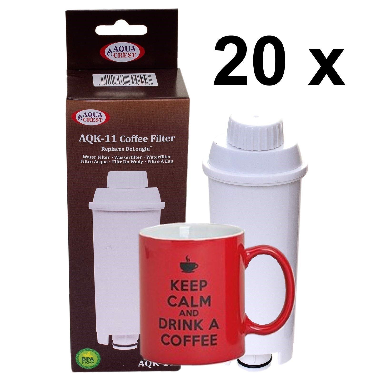 20 x Filtre Cartouche aqk-11 Compatible pour DeLonghi DLS ser3017 c002 5513292811
