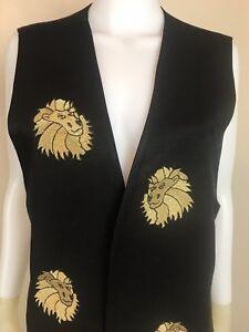 Women-039-s-Vintage-1980-039-s-Black-w-Gold-Lion-Patches-Vest-Size-L-Pre-Owned