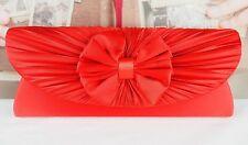 New Satin Pleated Bow Evening Clutch Bag Wedding Bridal Prom Party Chain Handbag