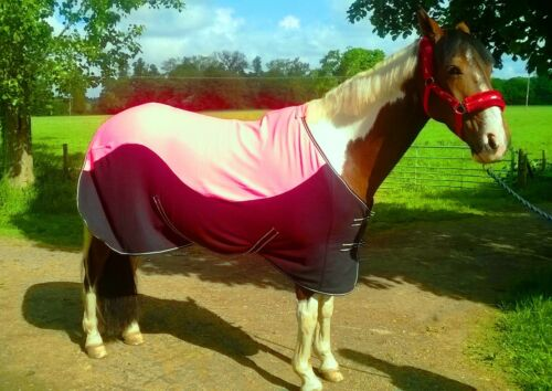"""NEW TWO//TONE COLOUR HORSE COB PONY SHOW TRAVEL FLEECE RUGS PINK-BLACK 3/'9-6/'9/"""""""