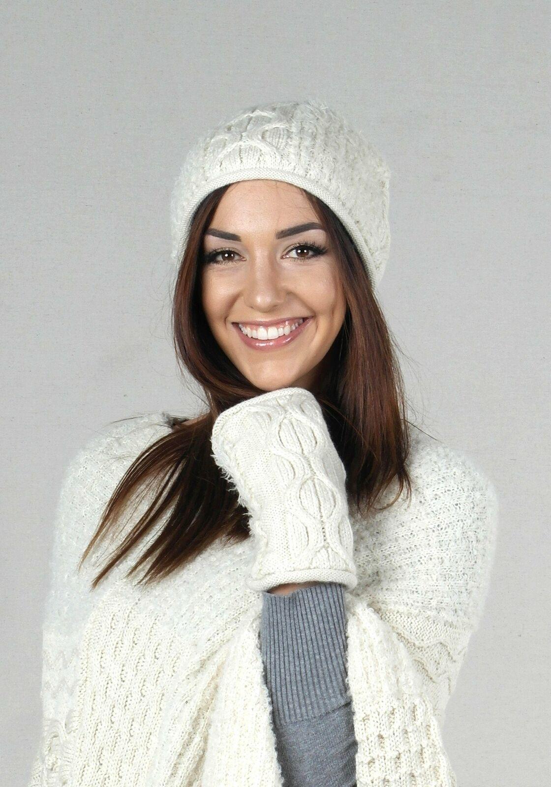 Winter Alpaca Beanie and Gloves Set