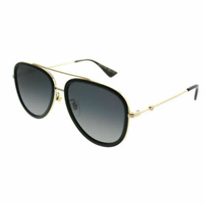 b56658eaa3193 Gucci GG 0062S 011 Black Gold Aviator Sunglasses Grey Gradient ...