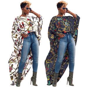 New-Women-Fashion-Women-Chain-Print-Casual-High-Low-Hem-Chiffon-Tops-Shirts