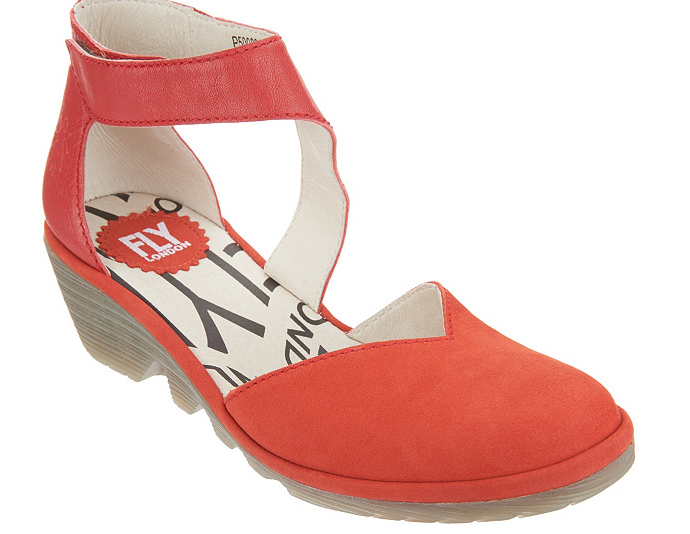 FLY London Leather Closed Toe Wedge - Pats Scarlet EU35 US 5 New