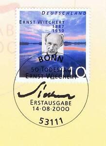 Avoir Un Esprit De Recherche Rfa 2000: Ernst Wiechert Nº 2132 Avec Bonner Ersttags Cachet Spécial! 1a! 1610-stempel! 1a! 1610fr-fr Afficher Le Titre D'origine La Qualité D'Abord