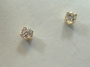 Image Is Loading 14k Baby Children Diamond Stud Earrings 14 Karat