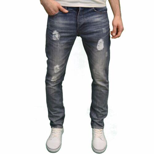Enzo Mens Designer Branded Slim Fit Ripped Tapered Distressed Denim Jeans BNWT